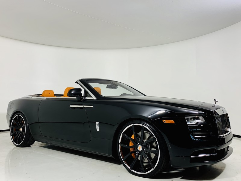 Pre-Owned 2016 Rolls-Royce Dawn Convertible in Diamond Black/Mandarin w/ Forgiato Wheels